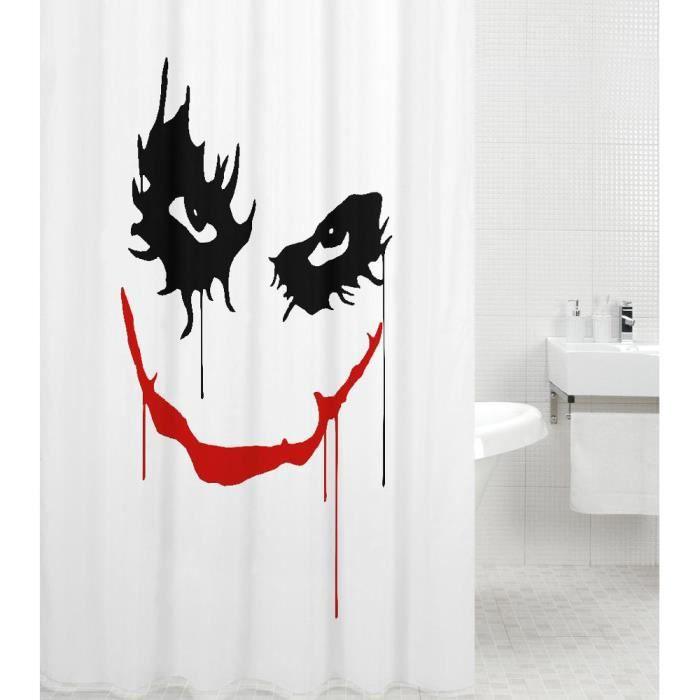 Rideau de douche Joker 180 x 200 cm - de haute qualité - 12 anneaux inclus - imperméable - effet anti-moisissures