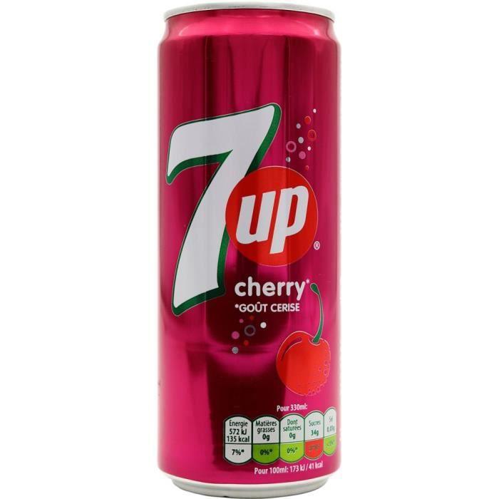 Seven up (7up) Cherry (cerises) Pack de 33 cl x 24