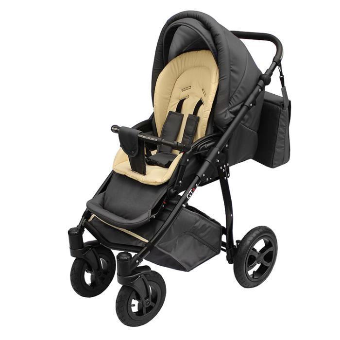 Poussette avec siège-auto 3en1 et avec look sportif + accessoires & cadre en aluminium et roues en mousse bébé enfant GTr - Beige.