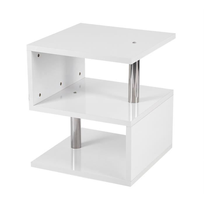 Table basse LED irrégulière aggloméré blanc-HUA