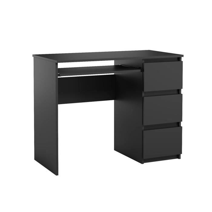 Bureau d'ordinateur. Bureau très élégant avec des tiroirs. Bureau informatique HEINI noir