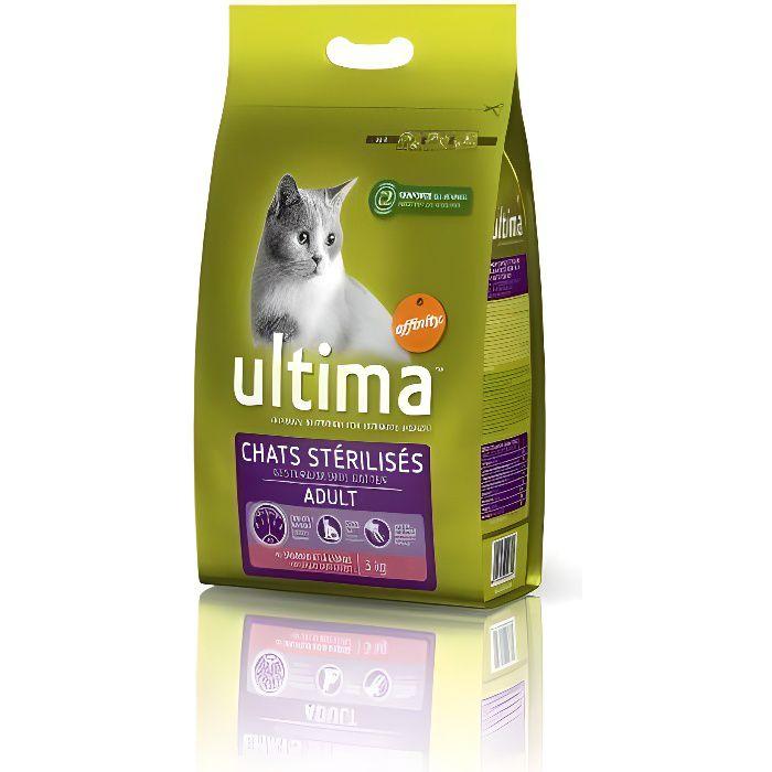 ULTIMA Croquettes pour chat stérilisé au saumon - 3kg