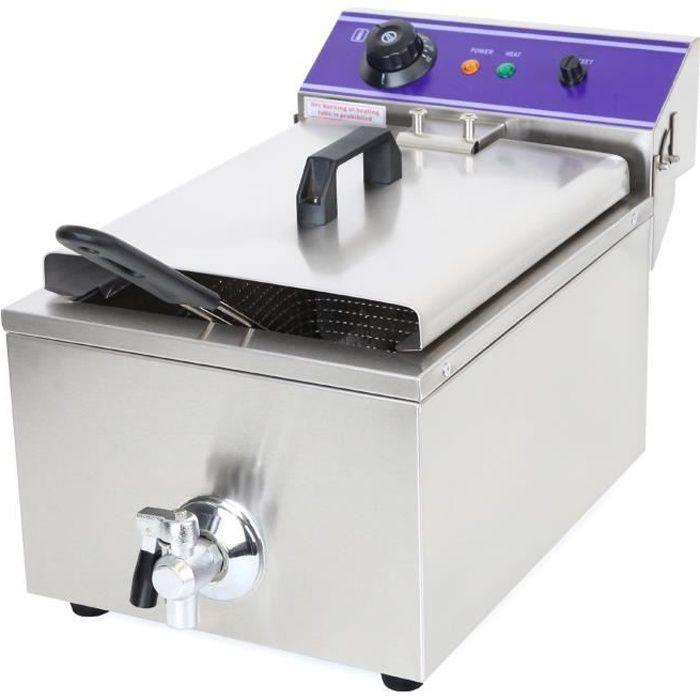 Vertes 10L Friteuse électrique professionnelle en Acier Inox (3000W, Robinet de Vidange, Contrôle de la température automatique)