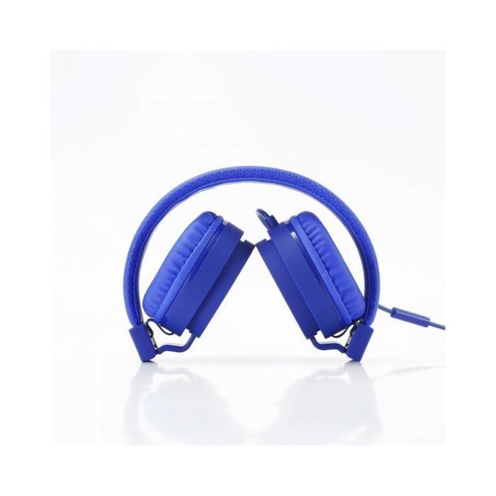 Casque filaire WE avec micro Bleu - WECASFIL2B 1,2 m