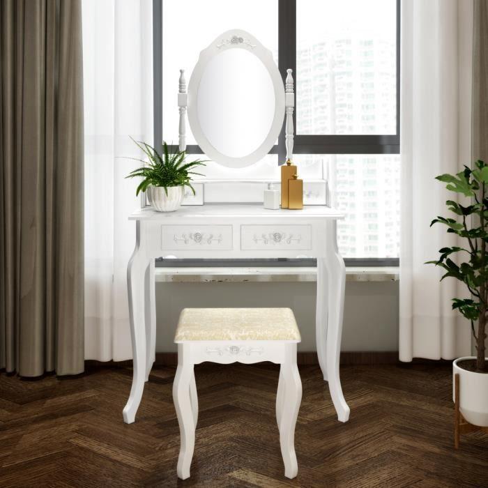 Alightup Coiffeuse avec Miroir Rabattables Table de Maquillage Grand Commode avec Tabouret Bureau Coiffeuse avec 7 Tiroirs pour Femme ou Enfant
