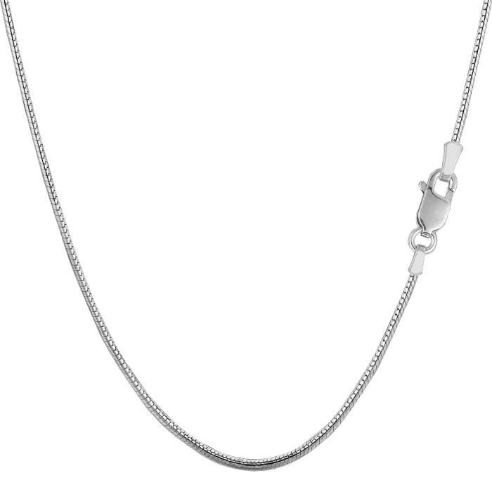 Argent sterling Rhodium plaqué rond Snake Chain Necklace, 1,4 mm, 20