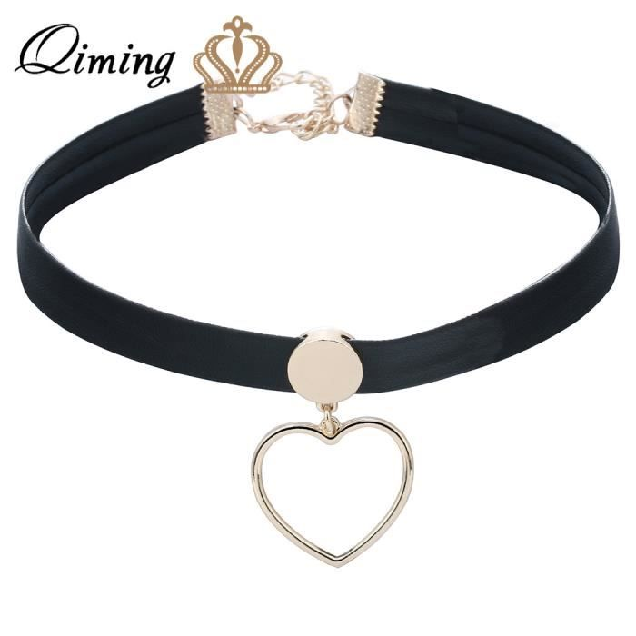 1 pcs simple noir collier en cuir pour femmes amour coeur or charme harajuku choker collier sexy. Black Bedroom Furniture Sets. Home Design Ideas