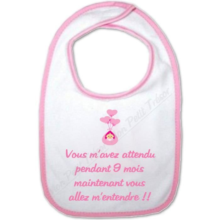 bavoir b b fille humour vous allez m 39 entendre achat vente bavoir 2009962320841 cdiscount. Black Bedroom Furniture Sets. Home Design Ideas