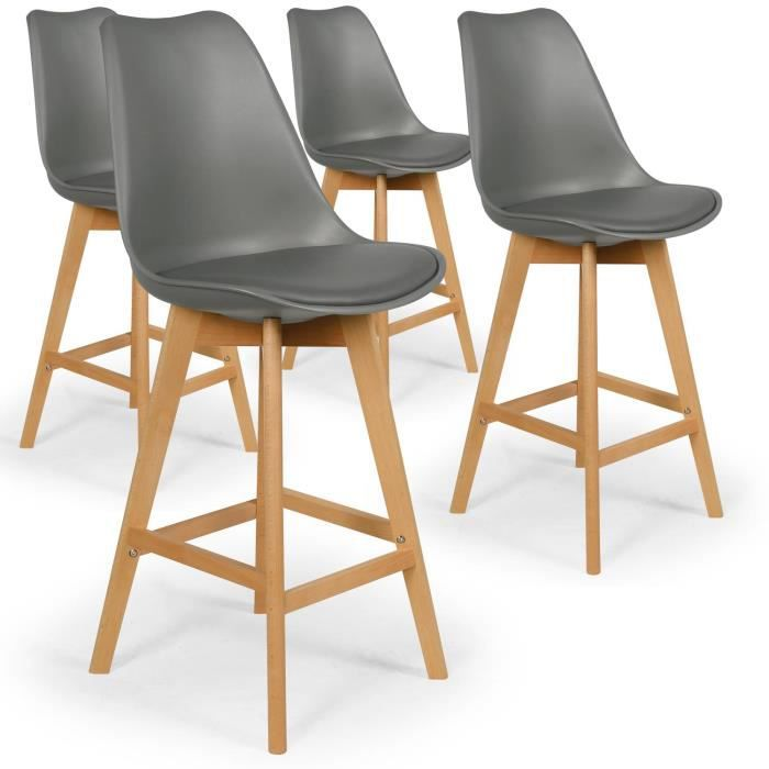 TABOURET DE BAR Lot De 4 Chaises Hautes Style Scandinave Catherina