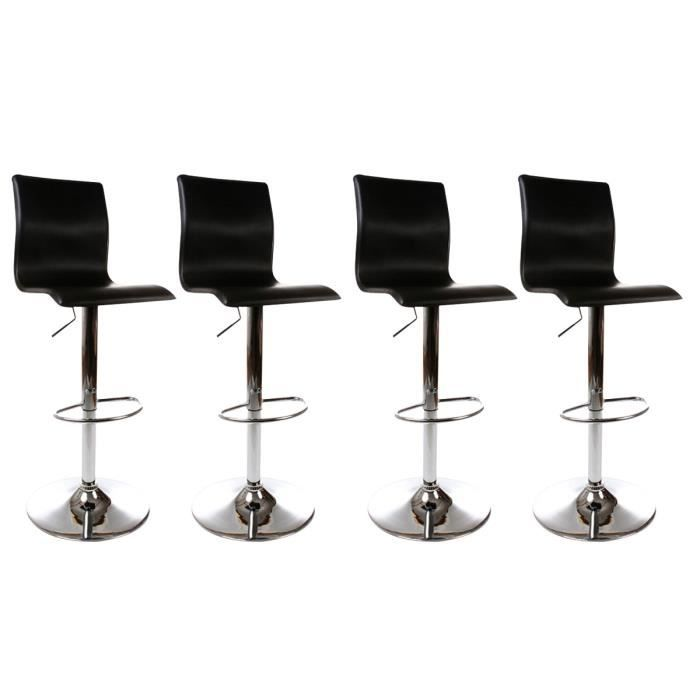 Lot de 4 tabourets de bar wave noir achat vente tabouret pu acier chrom - Lot 4 tabouret de bar ...