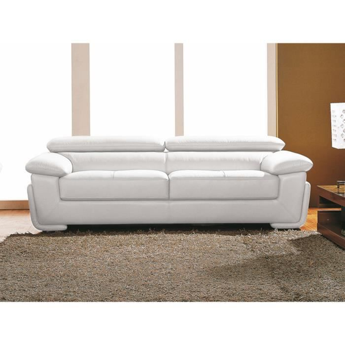canap 3 places cuir blanc sena achat vente canap sofa divan cuir polyur thane bois. Black Bedroom Furniture Sets. Home Design Ideas