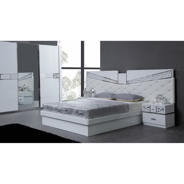 lit adulte design avec t te de lit aspect cuir blanc capitonn achat vente structure de lit. Black Bedroom Furniture Sets. Home Design Ideas