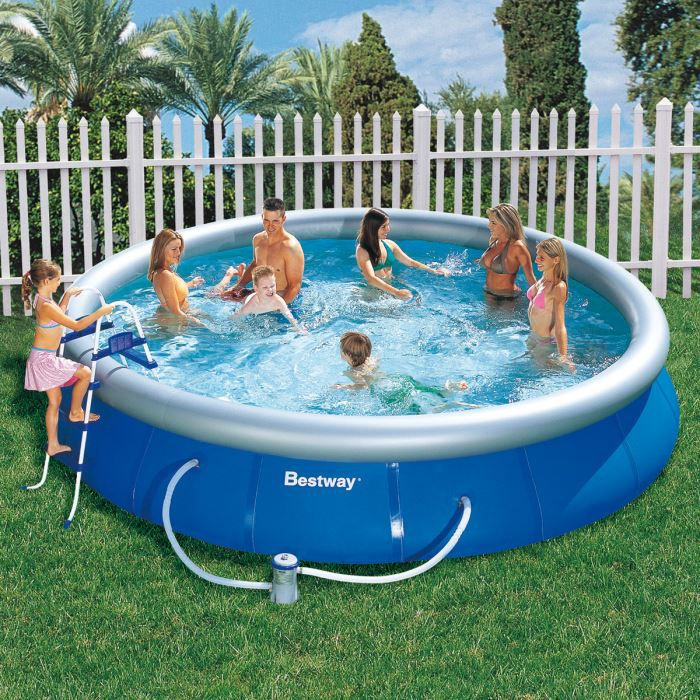 Piscine autoportante fast set 457 x 91 cm bache bestway for Bache piscine autoportante