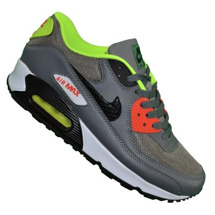 Nike -- Basket - Homme - Air Max 90 - Gris Jaune Fluo Gris ...