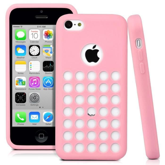 coque iphone 5c silicone gel trous rose car interior design. Black Bedroom Furniture Sets. Home Design Ideas