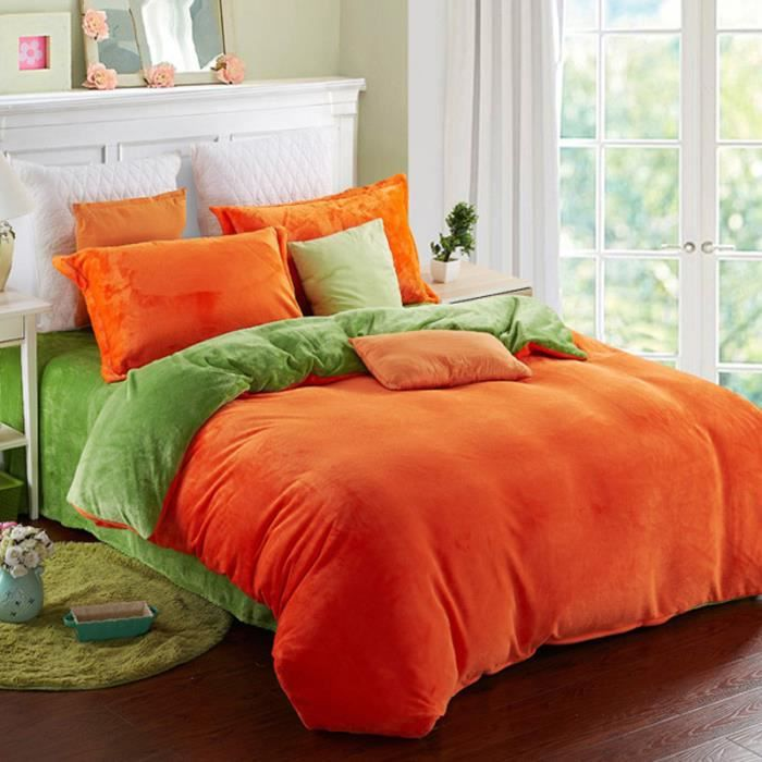 flanelle 3 ensembles de literie linge de lit de couette orange and vert simpvale achat. Black Bedroom Furniture Sets. Home Design Ideas