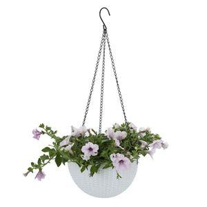 JARDINIÈRE - BAC A FLEUR 1pcs Pot de Fleur Suspendu Blanc Plastique, Panier