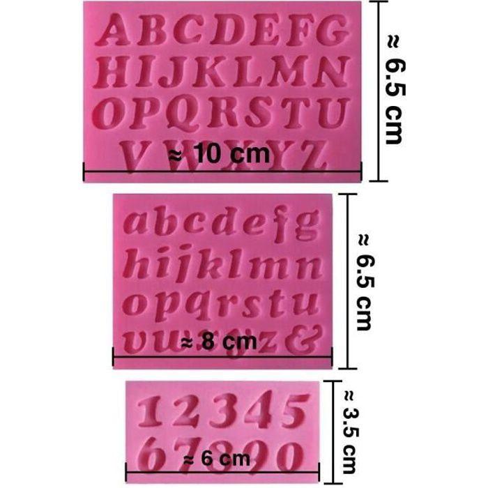 Moule silicone 3D Alphabet chiffres pour pâte à sucre, cake design, décoration