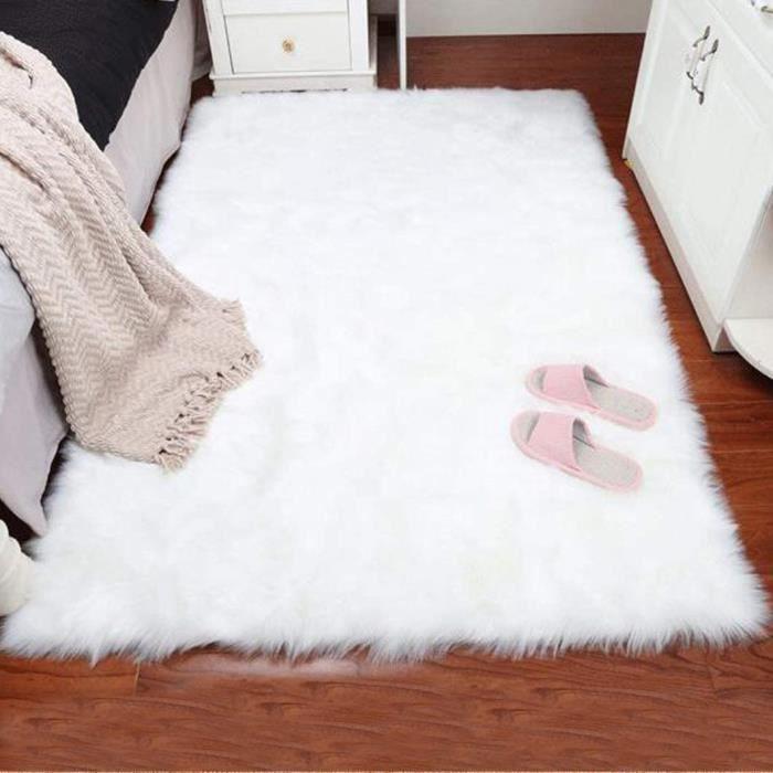 Tapis de Salon Blanc 60x180cm Tapis en Fausse Fourrure Shaggy Anti-dérapage Peluche Coussin de Canapé de Chambre Imitation Mouton