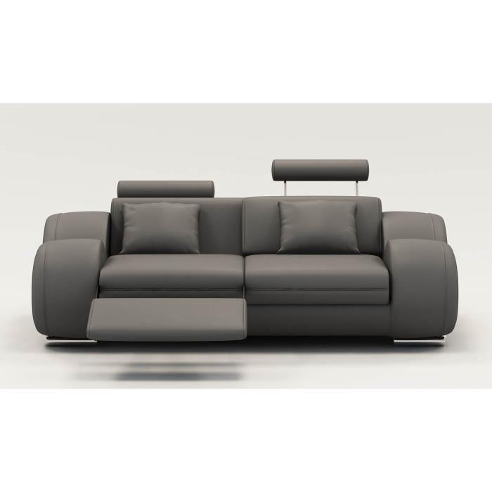 Canapé 2 places design relax OSLO en cuir gris