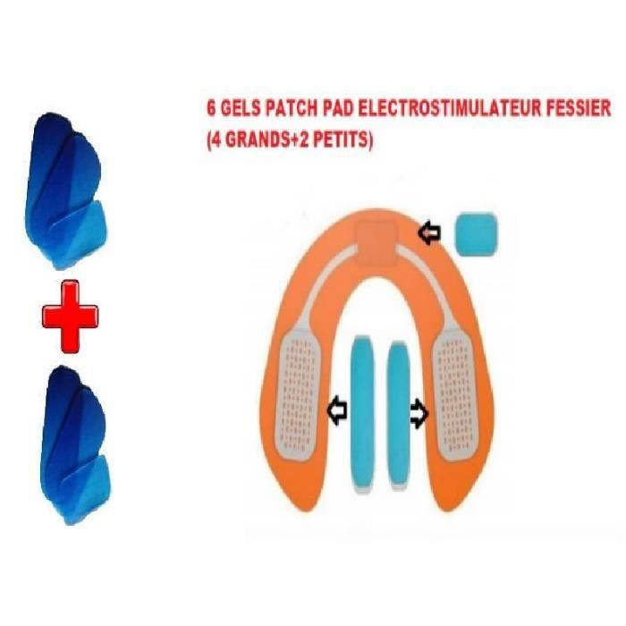 Gel Patch Pad pour Electrostimulateur Fessiers, Hip Trainer Gel, Electrostimulation Fessier/Universel/ / 6 PCS (4 Grands+ 2 Petits)