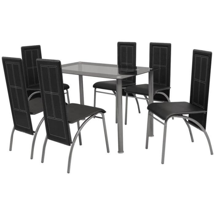 ETO Ensemble à d?ner sept pièces Noir,Table Salle a Manger