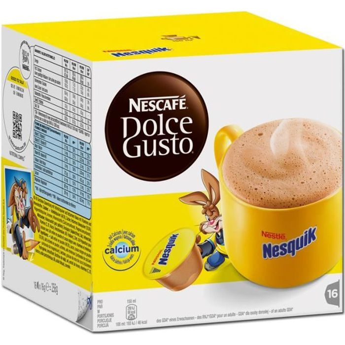 Nestlé Dolce Gusto Nesquik, Café, Café cacao, Boîte de 16 capsules