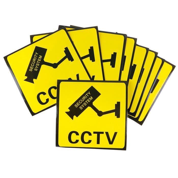 Autocollant d'alarme caméra de vidéosurveillance, 10 pièces, panneaux d'avertissement [B3C893B]