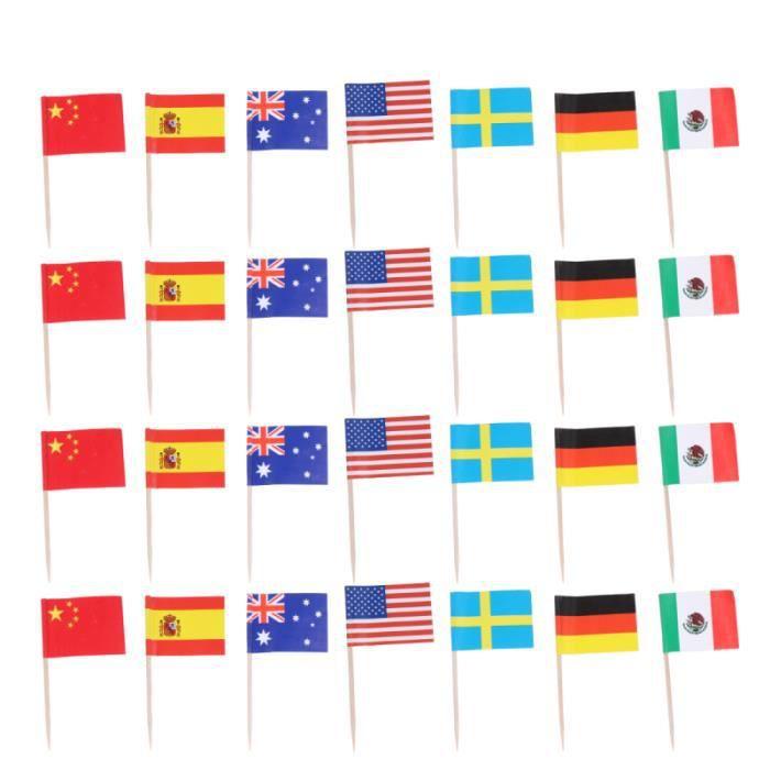 100 pièces de choix de fruits de fête drapeaux nationaux du monde cure-dents de Dessert lumineux pour CAKE DECORATION FIGURINE