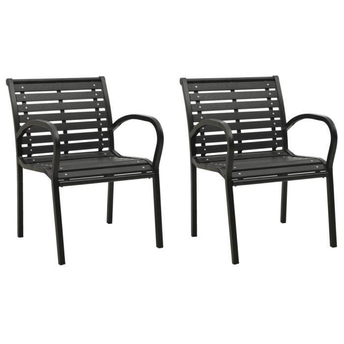 BINGO - 2 pcs Chaises de jardin Gris Bois - Chaise d'extérieur ,Chaise de terrasse ,Fauteuil de balcon-3779