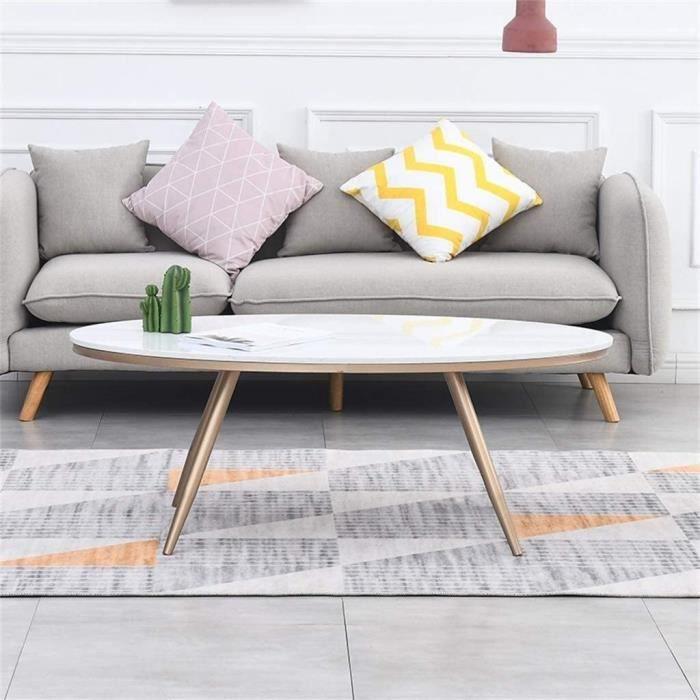 Tables de jardin Side Table créative Fer Forgé Ovale Table d'appoint, Minimaliste Moderne en marbre Blanc Naturel Meuble 100921