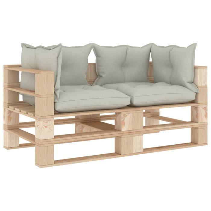 Luxueux Magnifique-Canapé palette à 2 places de jardin Jardin Patio Extérieur Salon avec coussins beige Bois