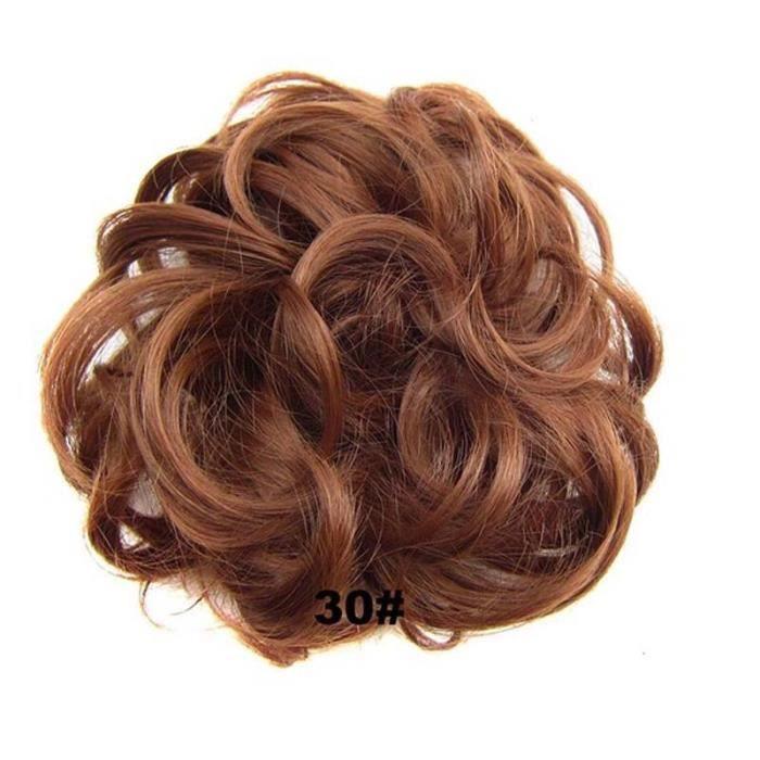 n ° 30 -Synthétique Flexible élastique femmes désordre cheveux Chignon brun noir blond bouclé Scrunchy Chignon postiche