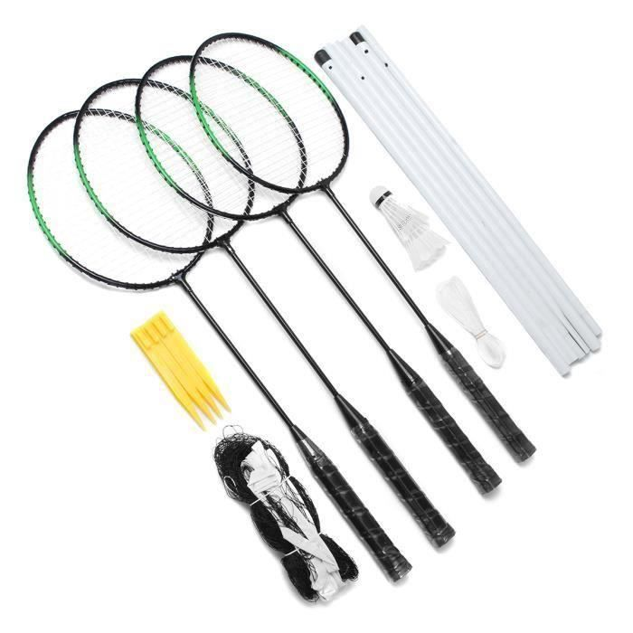 Kit Raquette de Badminton Pr 4 Personnes Entraînement Filet Sac Bo59515
