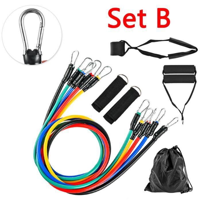 Accessoires Fitness - Musculation,11 pièces-ensemble 100LBS bandes de résistance ensemble extenseur Yoga entraînement - Type Set B