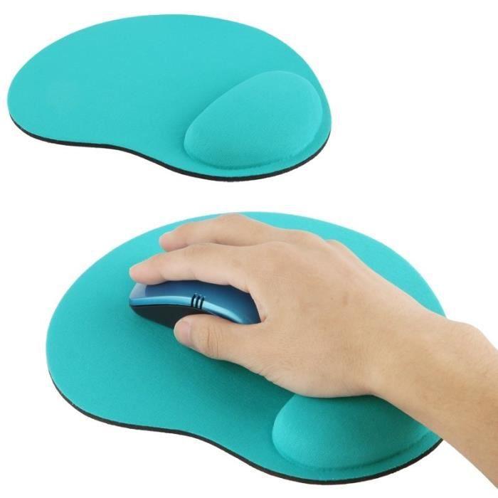 Tapis de souris repose poignet ergonomique tissu ( Turquoise )