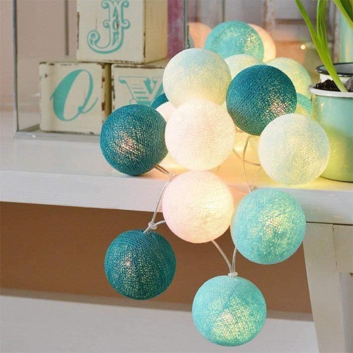 Guirlande Lumineuse Intérieur, Boule Lumineuse Décoration Maison Lumineuse Chambre (20 Boules de 5M, Bleu ) Piles ou Chargeur USB