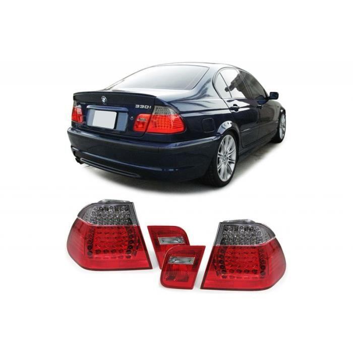 Feux arrière LED pour BMW Série 3 E46 Berline 05-1998-08-2001 Rouge Noir