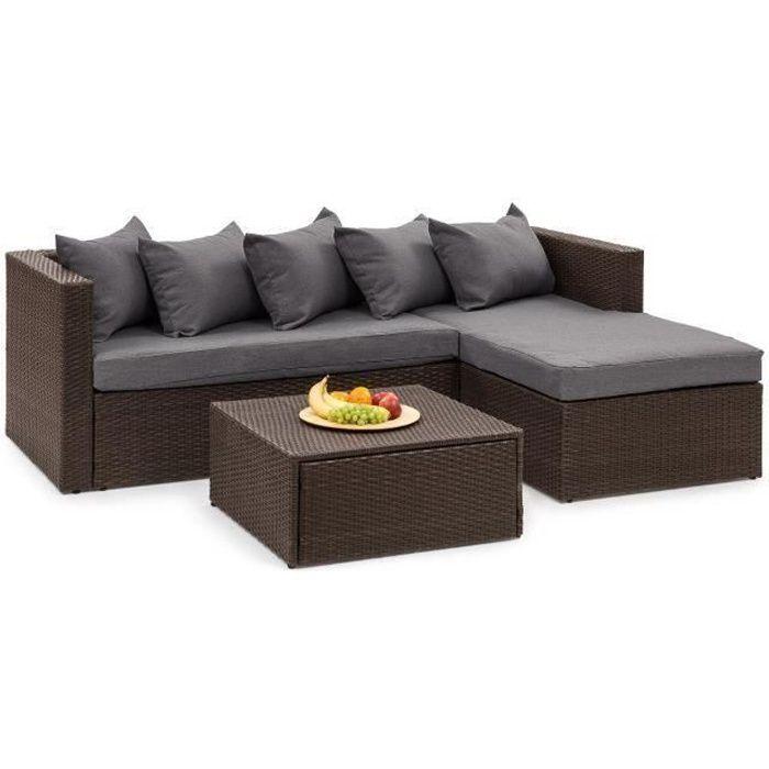 Blumfeldt Theia Lounge Salon de jardin 5 places en résine tressée - canapé, table basse, coussins & housses gris foncé - marron