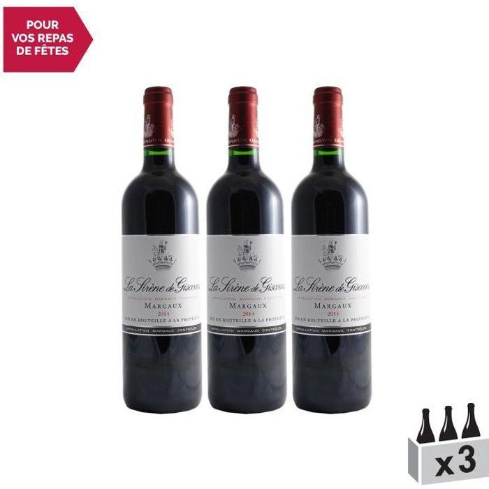 Château Giscours Cuvée la Sirène Rouge 2014 - Lot de 3x75cl - Appellation AOC Margaux - Vin Rouge de Bordeaux - Cépages Merlot,