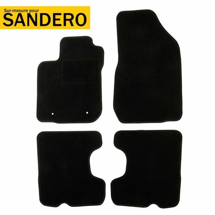DBS - Tapis voiture / auto - Sur Mesure pour SANDERO (2013 - 2017) - 4 pièces - Antidérapant - Moquette Basic