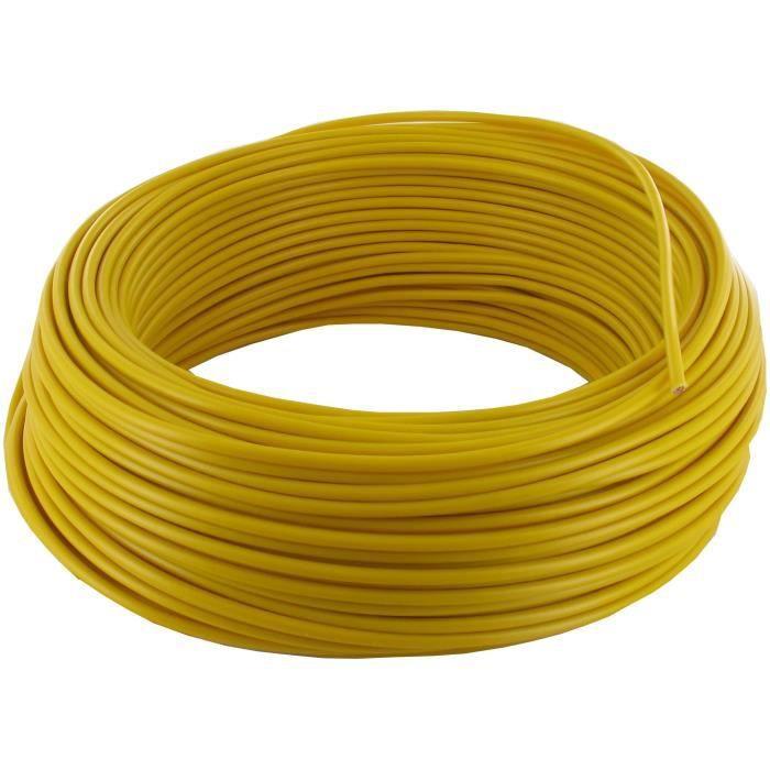 Fil électrique souple de couleur jaune
