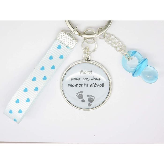 Porte Clé Personnalisable ou Bijou de Sac Ton Bleu Cadeau pour une Nounou, une Maman, une Maîtresse Cadeau Crèche