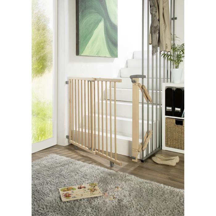 Barrière d'escalier pivotante en bois 95 cm - 135 cm Natur