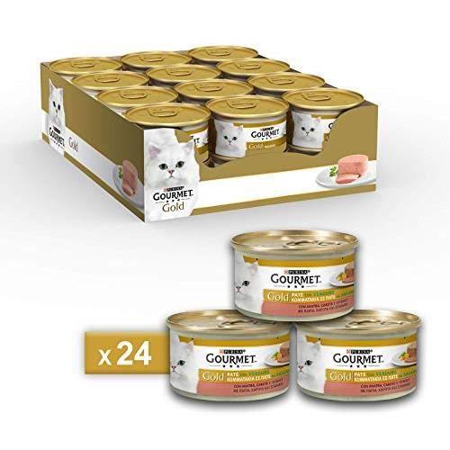 Gourmet Gold Pâté pour Le Chat, avec légumes, avec Canard, Carottes et épinards, 85 g – Lot de 24 pièces 12254203