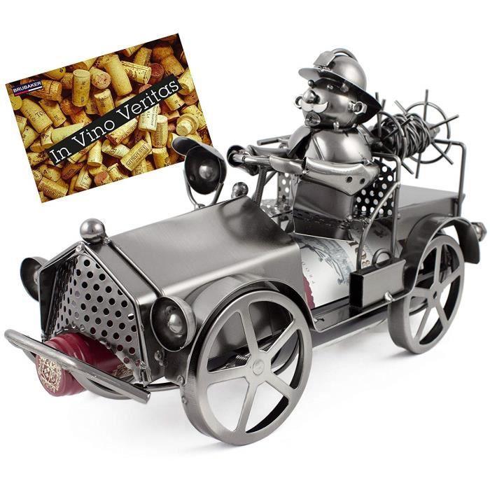 BRUBAKER Porte-bouteille 'Camion de Pompiers' - Sculpture en Métal - Argent - avec Carte-cadeau
