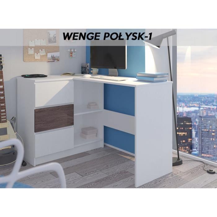 KIAN B - Bureau d'angle + rangements + 3 tiroirs - 112x87x76cm - Table d'ordinateur forme de L - Blanc Wengé