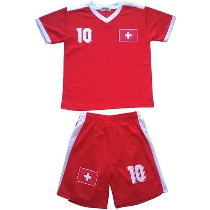Ensemble De Vetements De Football - Tenue De Football - NPZ - Ensemble short et maillot de foot enfant Suisse Taille de 2 à 14 ans