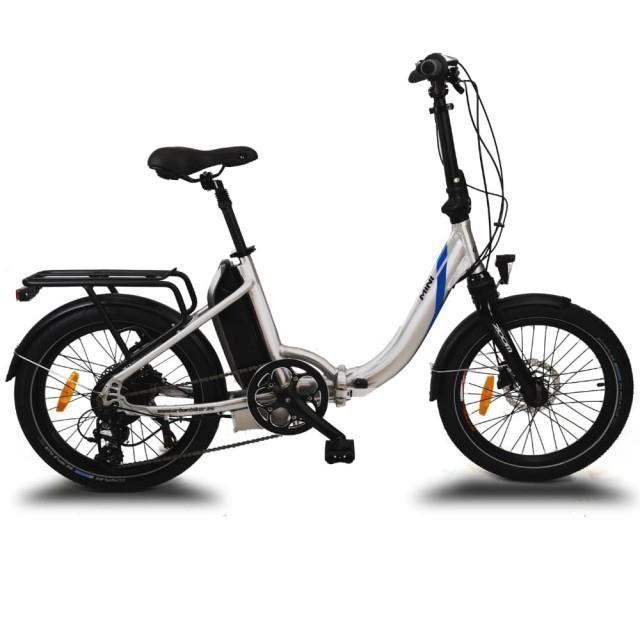 Vélo pliant électrique MINI argent, Battery Lithium 36V 14Ah (504Wh), freins à disque hydraulique