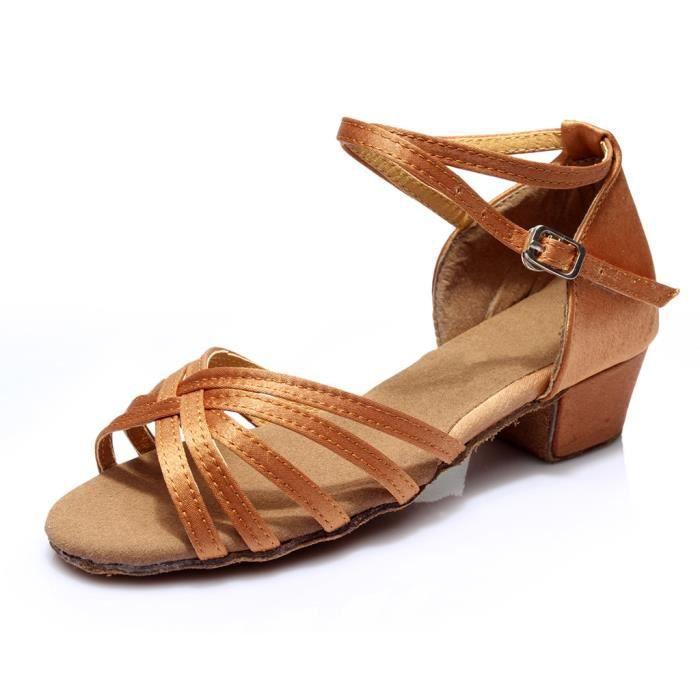 Haute qualité filles enfants enfants salle de bal Tango Salsa chaussures de danse latine sandales marron